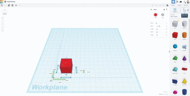 Use the ruler tool to enable precise sizing of objects in the workplane
