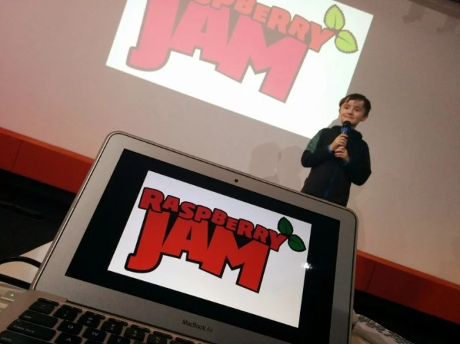 2014: A young Josh Lowe presents at the Raspberry Jam – he'd go on to make EduBlocks