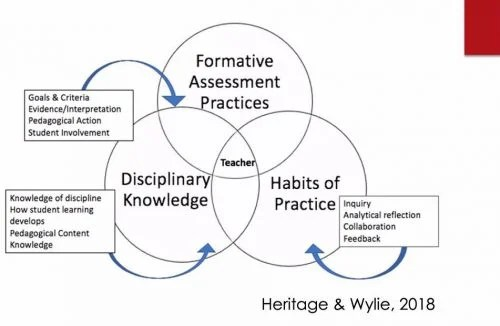 Venn diagram of how formative assessment practices intersect with teacher knowledge and skills