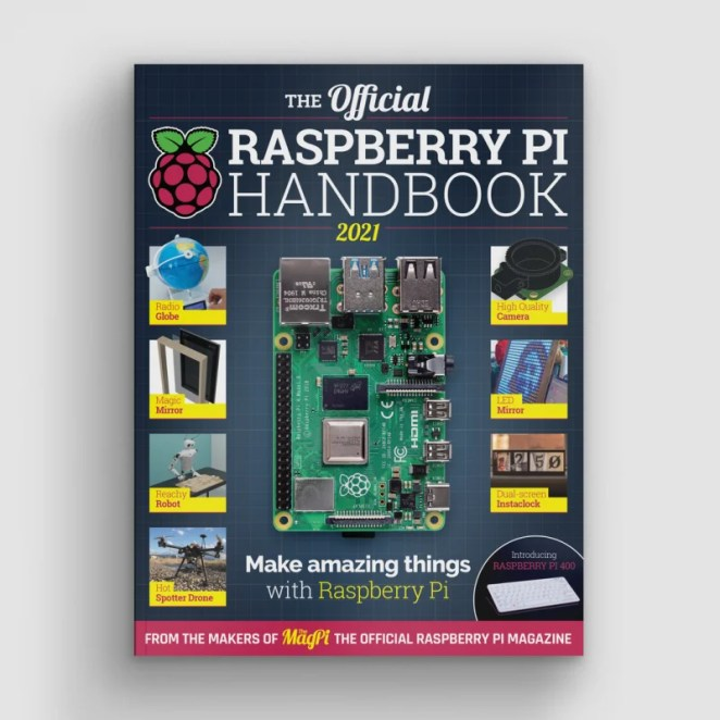 The front cover of the Raspberry Pi Handbook featuring a Raspberry Pi 4 on a dark background