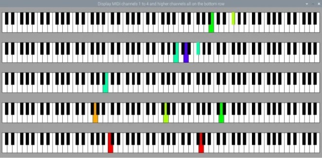 Five keyboards showing MIDI note messages being sent on different channels