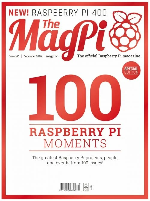 Flat view of the special front cover of the magazine featuring a big red number 100