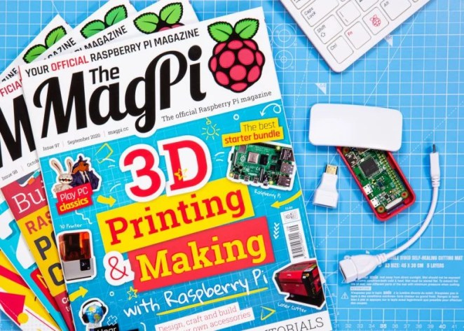 Magpi magazines fanned out with free gift to the side of them
