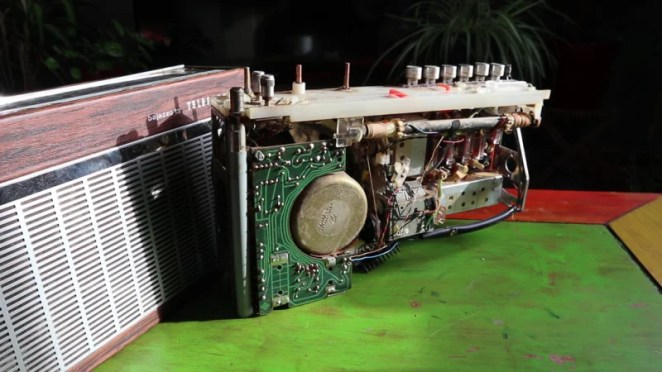 The makers carefully dismantled a vintage radio and reused some of the parts