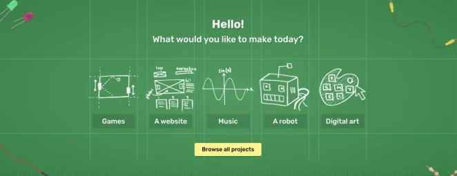 screen grab of raspberry pi projects homepage