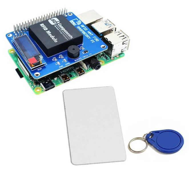 SB Components' RFID HAT connects neatly on top of a Raspberry Pi Model B