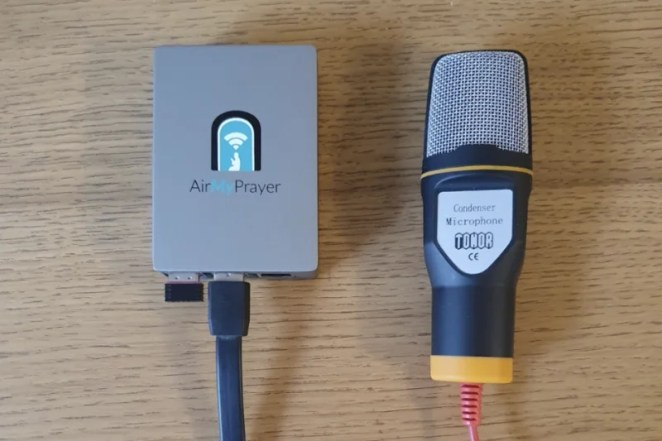 A simple mosque-side AirMyPrayer setup, which allows for voice transmission