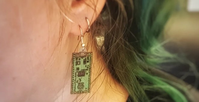 Tanya continued the tradition of making earrings resembling new, tiny Raspberry Pi boards – this one a handmade Pico