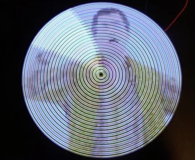 When the arm is spun rapidly, the LEDs are blinked rapidly in a pattern