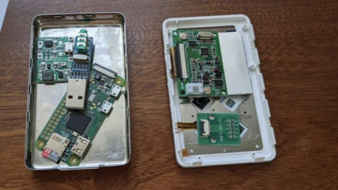 Replacement Raspberry Pi parts laying inside an empty iPod case to check they will fit
