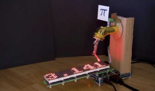 An animation of three LEDs creates the illusion of digits flowing from the tap