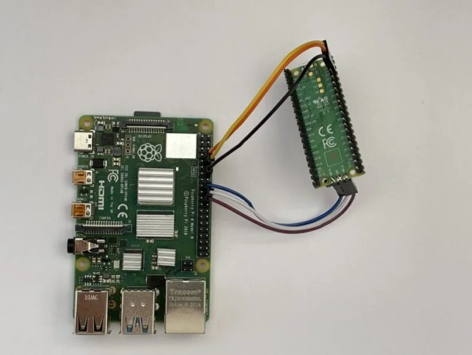 This shows how to connect a Pico to a Raspberry Pi for program deployment and debugging. You will need to add a USB power source to the Pico, as the connections shown are just for data