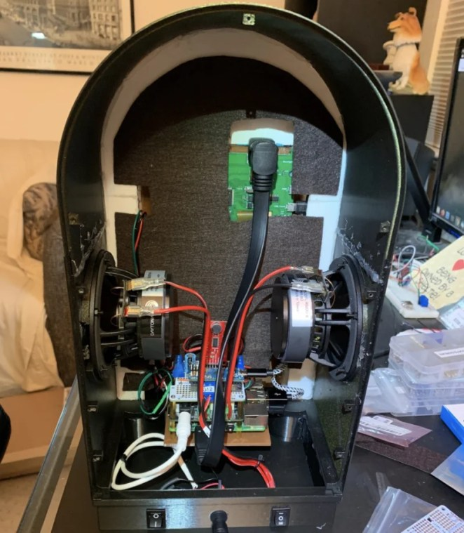 Mounted on Raspberry Pi, the electronics include an Arduino Micro, SparkFun Sound Detector, and an IQaudio DigiAMP+ connected to two speakers
