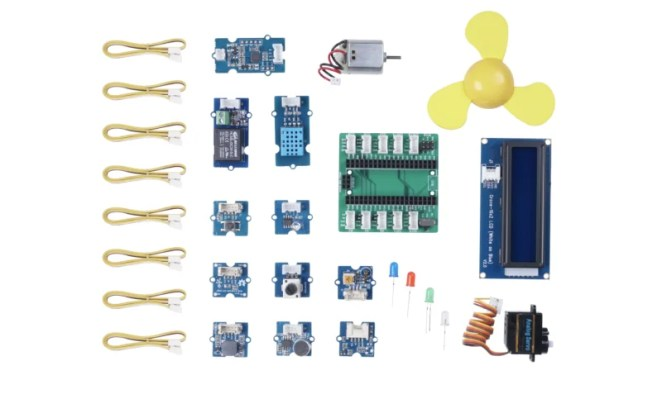 The Grove Starter Kit contains a range of Grove components and the Grove Shield