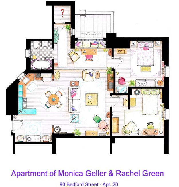 Friends Les plans des appartements de JoeyChandler et
