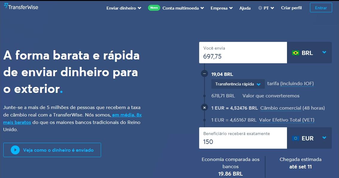 simulação de tarifas pela TransferWise