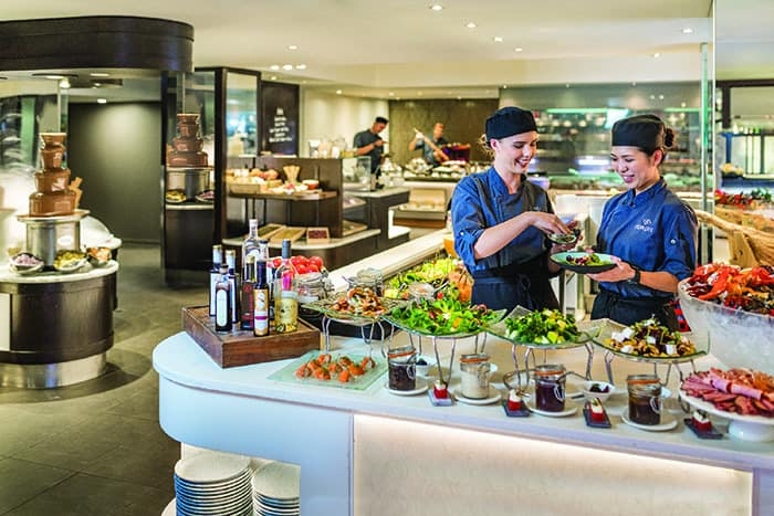 salad bar at Eight restaurant Cordis