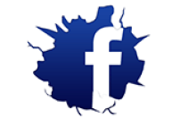 Cracked FB logo