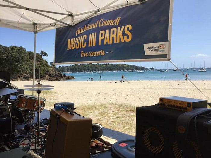 Auckland's music in parks on a beach