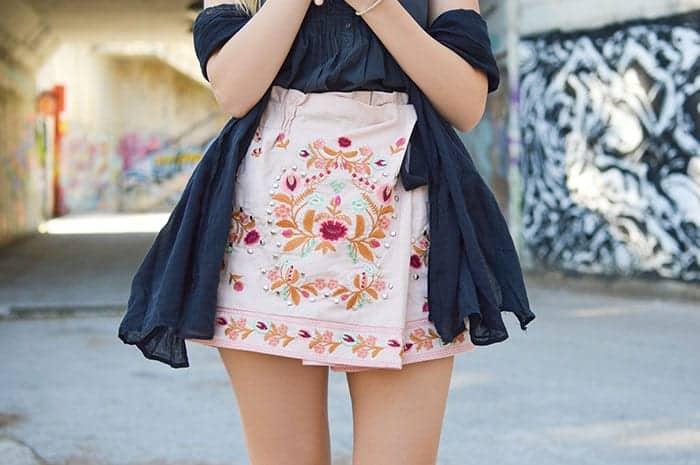skinny legs in skirt