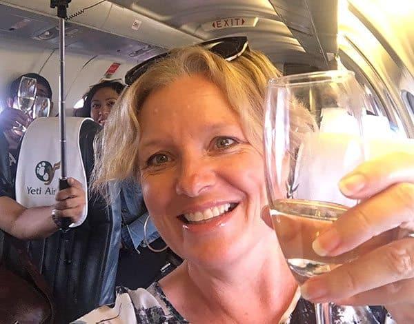 Champagne on Yeti mountain flight