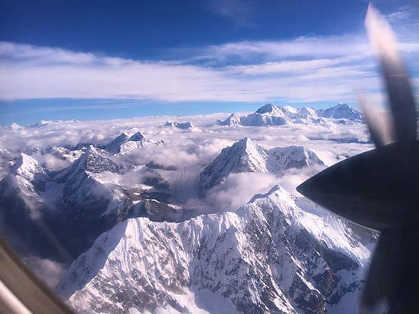 Himalaya mountains from plane
