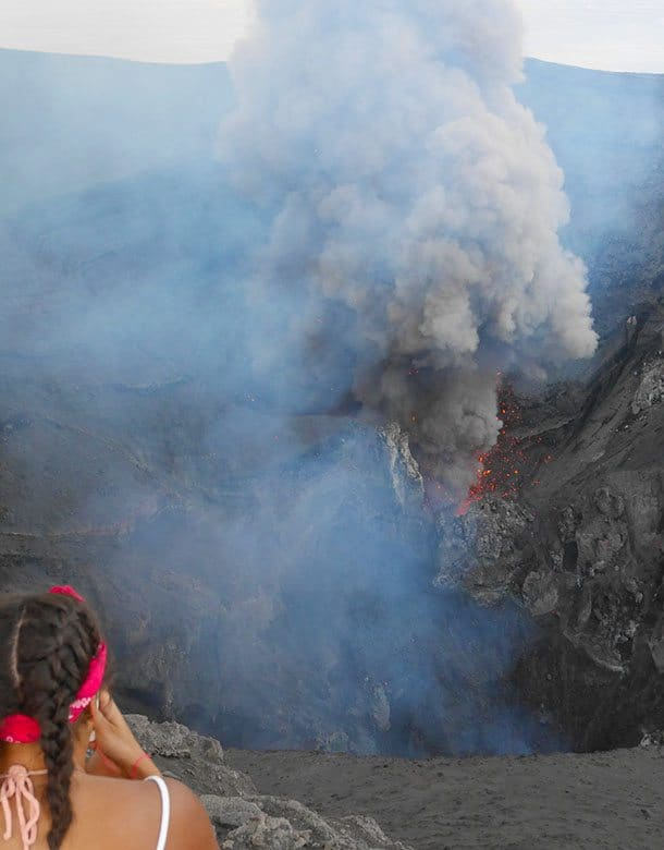 Photos from edge of volcano