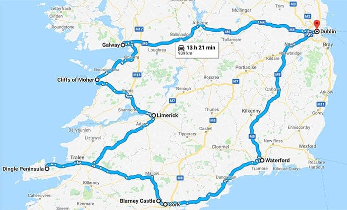 Driving map southern Ireland from Dublin to Galway