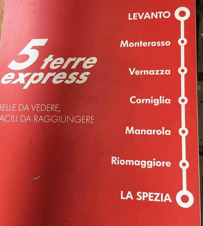Map of Cinque Terre train stations