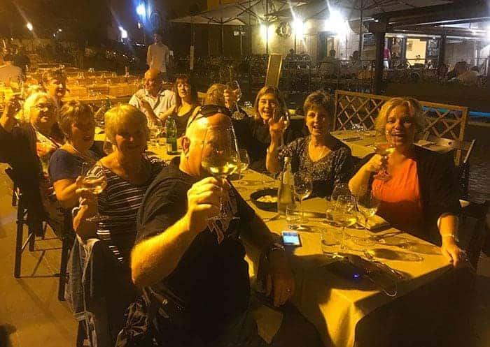 The Italy group eating dinner in Frascait