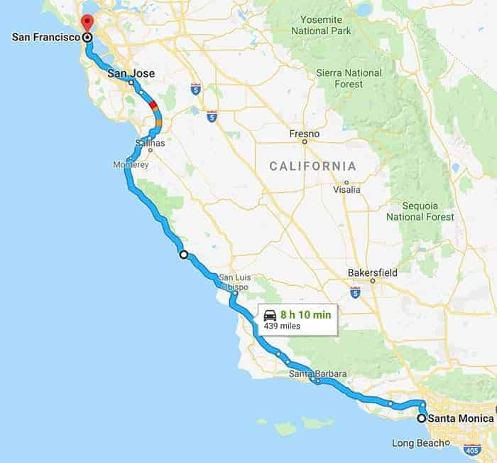 LA to San Fran route on map