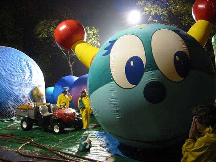 Macy's Thanksgiving Day parade balloon inflating NYC