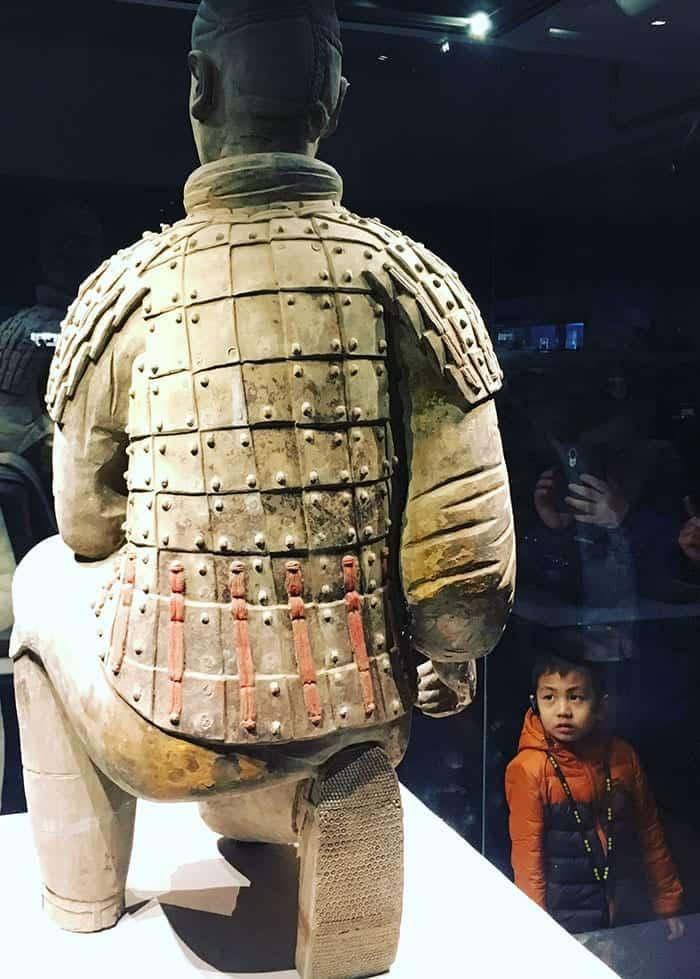 Terracotta warrior archer and child