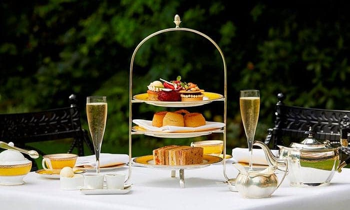 High tea with champagne in London