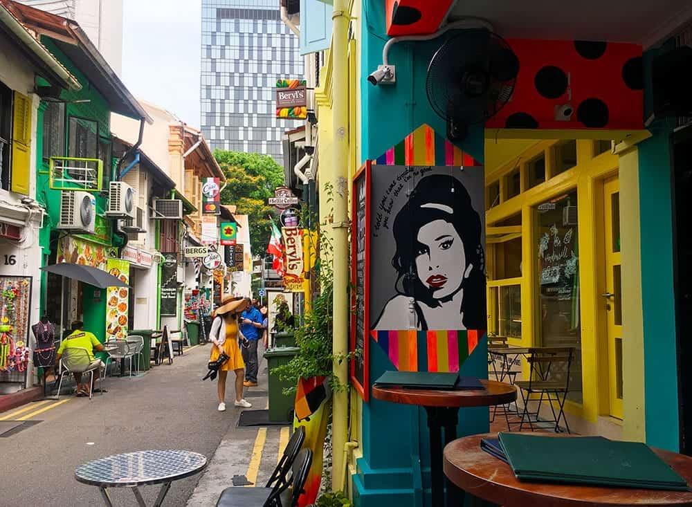 Amy Winehouse pop art at cafe