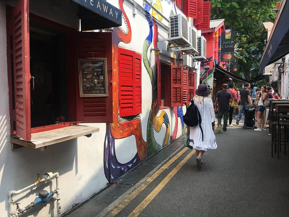 Girl walking down Haji Lane Singapore