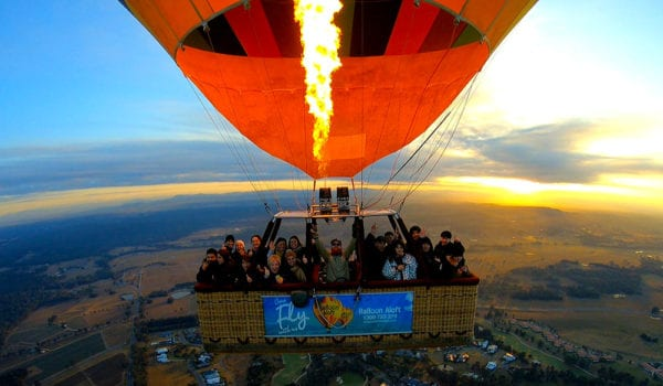 Hot air balloon ride over Hunter Valley