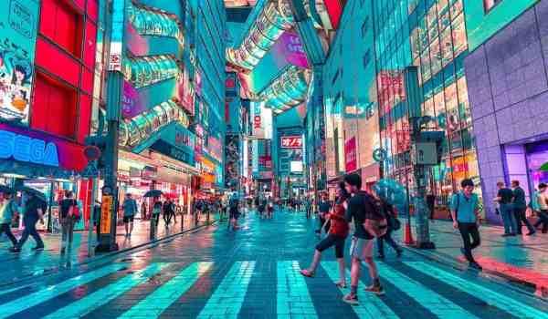 Crossing the street in Tokyo