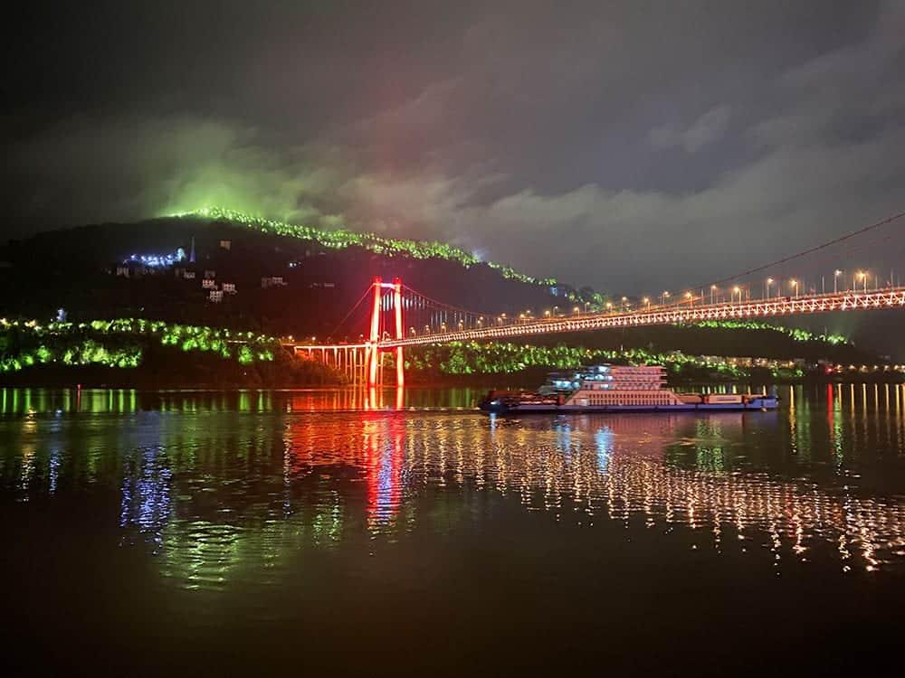 Hillside lighting along Yangtze River. China river cruise.