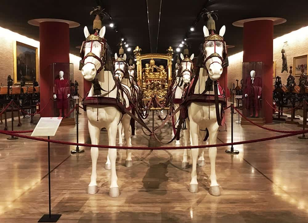 papal horses and carriage at Vatican Museums in Rome