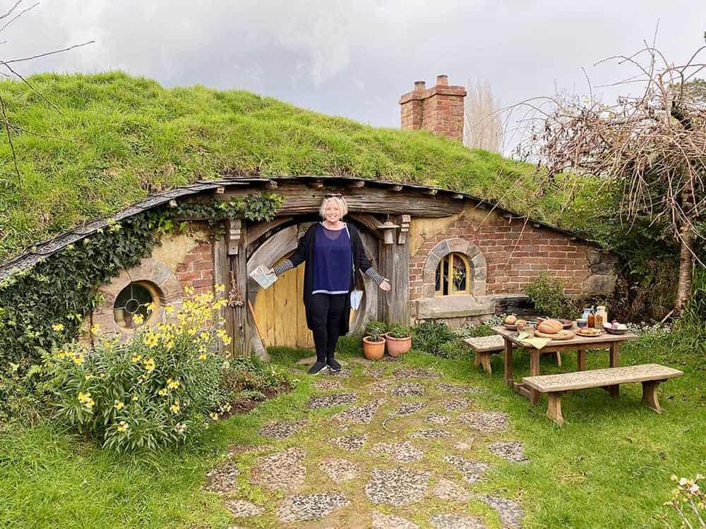 Megan at little hobbit door