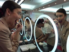 Learning tips from Emirates Airline makeup school