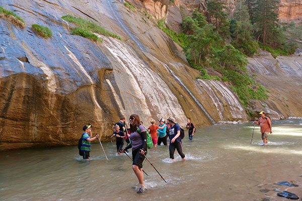 Knee deep in the Zion Narrows
