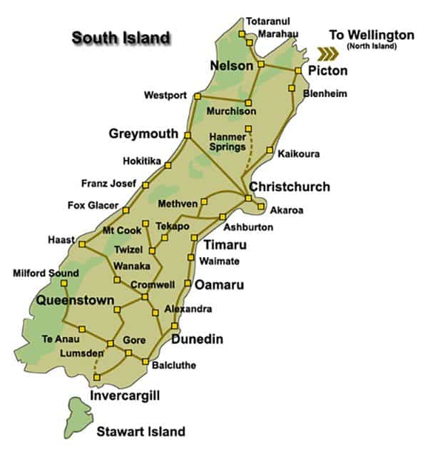 South Island road trip map
