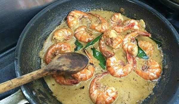 Outrigger Fiji cooking prawns