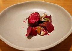 Venison with beetroot and mushrooms