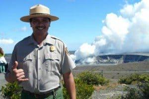 Park ranger Charles Wilson @ the steaming vent