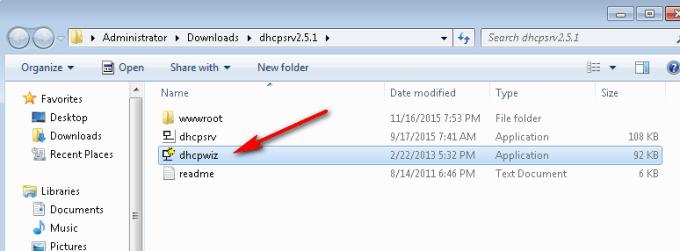 dhcp server on windows 7