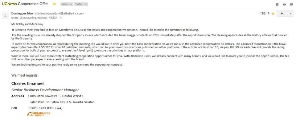 Tawaran ganti rugi dari UC News