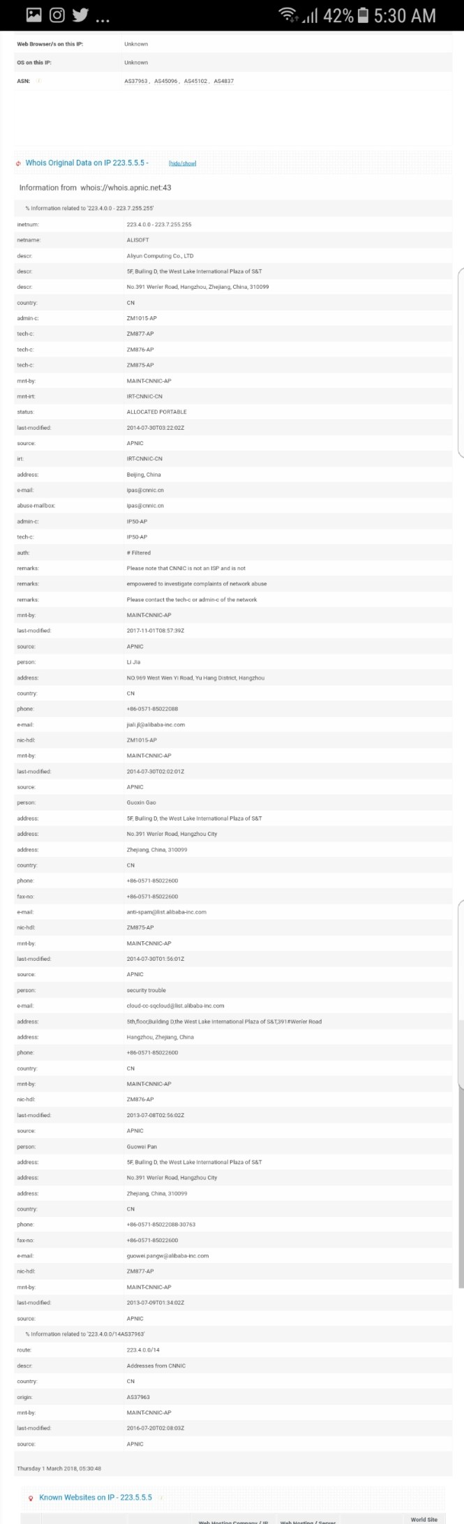 Hasil Whois di myip.ms/info/whois/223.5.5.5